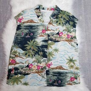 ZARA - Hawaiian Sleeveless button up Shirt